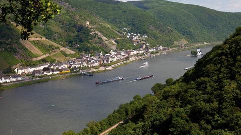Burg Gutenfels und Burg Pfalzgrafenstein im Rhein, Kaub, UNESCO Weltkulturerbe, Oberes Mittelrheintal, Rheinland-Pfalz.