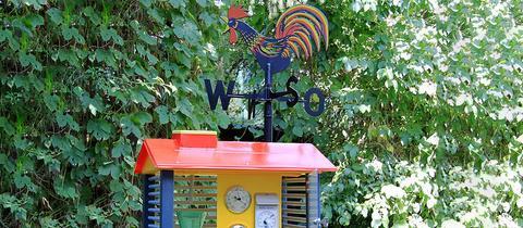Die Wetterstation mit Messinstrumenten in einem Garten