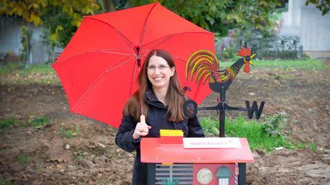 Andrea Lommel und die hallo hessen - Wettergucker-Station.