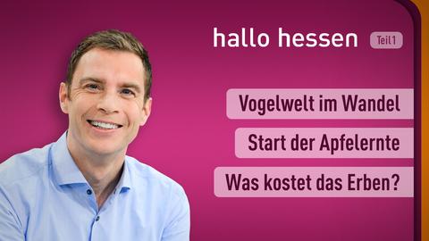 """Jens Kölker und die Themen bei """"hallo hessen"""" im ersten Teil am 14. September: Vogelwelt im Wandel, Start der Apfelernte, Was kostet das Erben?"""
