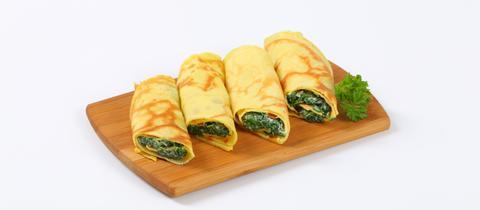 Pfannkuchen mit Spinat