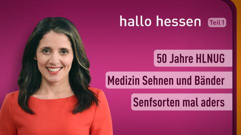 Moderatorin Selma Üsüsk sowie die Themen: 50 Jahre HLNUG, Medizin Sehnen und Bänder, Senfsorten mal anders