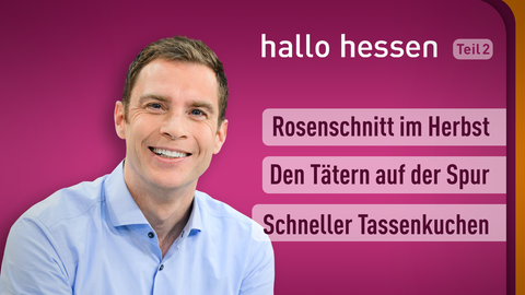 Moderator Jens Kölker sowie die Themen: Rosenschnitt im Herbst, den Tätern auf der Spur, Schneller Tassenkuchen