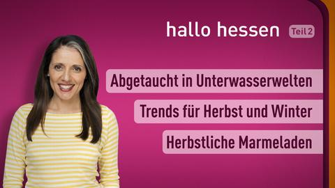 """Selma Üsük und die Themen bei """"hallo hessen"""" am 19. Oktober: Abgetaucht in Unterwasserwelten, Angesagt Trends für Herbst und Winter, Herbstliche Marmeladen"""