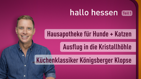 Moderator Jens Kölker sowie die Themen: Hausapotheke für Hunde + Katzen , Ausflug in die Kristallhöhle , Küchenklassiker Königsberger Klopse