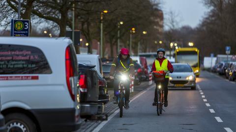 Radfahrer mit Reflektoren