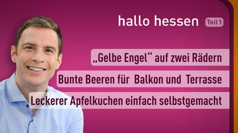 """Moderator Jens Kölker sowie die Themen: """"Gelbe Engel"""" auf zwei Rädern, Bunte Beeren für Balkon und Terrasse, Leckerer Apfelkuchen einfach selbstgemacht"""