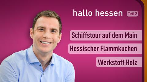 Moderator Jens Kölker sowie die Themen: Schiffstour auf dem Main, Hessischer Flammkuchen, Werkstoff Holz
