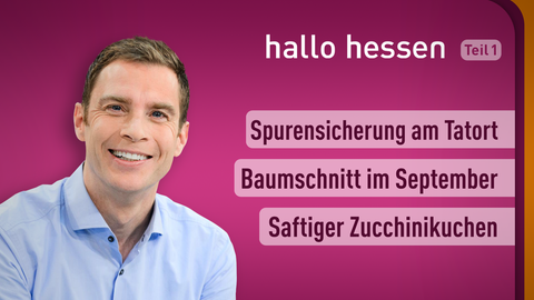 Moderator Jens Kölker sowie die Themen: Spurensicherung am Tatort, Baumschnitt im September, Saftiger Zucchinikuchen
