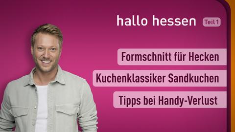 Moderator Jens sowie die Themen:Formschnitt für Hecken, Kuchenklassiker Sandkuchen, Tipps bei Handy-Verlust
