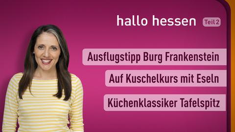 Moderator Selma Üsük sowie die Themen: Ausflugstipp Burg Frankenstein, Auf Kuschelkurs mit Eseln, Küchenklassiker Tafelspitz