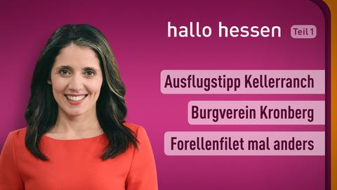 Moderatorin Selma Üsük sowie die Themen: Ausflugstipp Kellerranch, Burgverein Kronberg, Forellenfilet mal anders