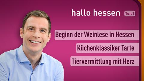 Moderator Jens Kölker sowie die Themen: Beginn der Weinlese in Hessen, Küchenklassiker Tarte, Tiervermittlung mit Herz