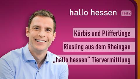 """Moderator Jens Kölker sowie die Themen: Kürbis und Pfifferlinge, Riesling aus dem Rheingau, """"hallo hessen"""" Tiervermittlung"""