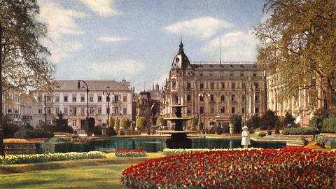 Postkartenmotiv von Wiesbaden und Darmstadt