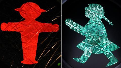 Mann und Frau als Verkehrsampel