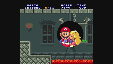 Super-Mario Figur mit anschmiegsamer Frauenfigur