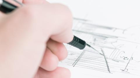 Bleistift-Skizzen auf weißenm Hintergrund