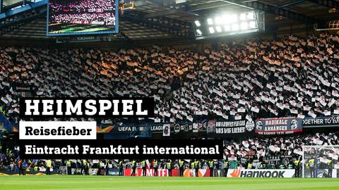 Eintracht Frankfurt Fans im Londoner Stadion. Text: HEIMSPIEL. Reisefieber – Eintracht Frankfurt international.