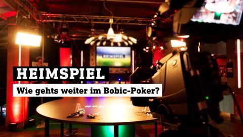 Blick ins Heimspiel-Studio. Text: Heimspiel - Wie gehts weiter im Bobic-Poker?