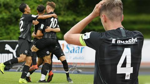 Eintracht-Spieler auf dem Spielfeld.