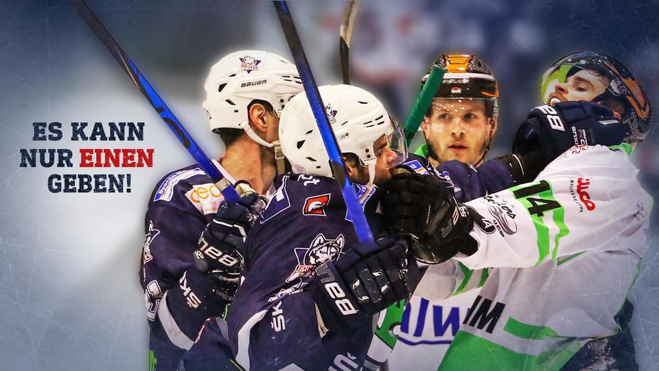 Spieler der Löwen Frankfurt und der Kassel Huskies beim Kampf auf dem Eis.