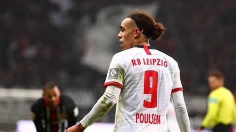 Yussuf Poulsen im Spiel Eintracht Frankfurt gegen RB Leipzig