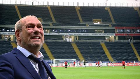 Eintracht-Präsident Peter Fischer in einem leeren Stadion