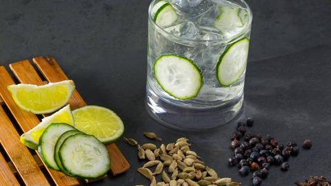 Mulled GinGin Tonic mit Gurke und auf Eis. Neben dem Cocktailglas liegen mehrere Limetten- und Gurkenscheiben, Zimtstangen, Gewürznelken, Kardamom und Wacholderbeeren.