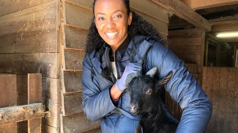 Anne Chebu als Tierpflegerin