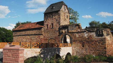 Blick auf die Wasserburg in Bad Vilbel.