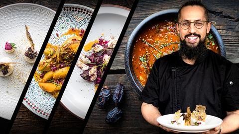 Rachid Belhabib vom rashook table. Er steht in seinem Restaurant vorm Tresen und hält einen Teller mit Essen strahlend vor sich. Im Hintergrund sind weitere Gerichte von ihm auf Holzgrund in Nahaufnahme zu sehen.