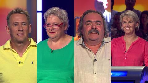 Die Kandidaten der Hessenquiz Sendung (v.l.): Dirk Dornheim, Ingrid Rummel, Karl-Heinz Winter und Silke Zeifang.