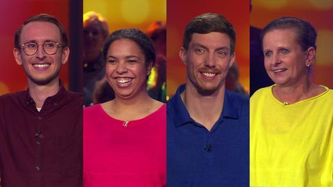 Die Kandidaten der Hessenquiz-Sendung (v.l.): Tobias Stegmann, Felicia Adeyemi, Tim Trautmann und Barbara Baumann.