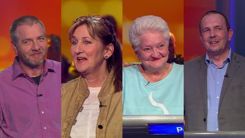 Die Kandidaten der Hessenquiz-Sendung (v.l.): Gerd Diehl, Nicole Schepp, Petra Täschner und Matthias Steckenreuther.