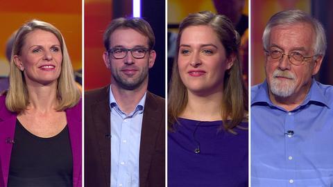 Die hessenquiz Kandidaten (von links): Astrid aus Frankfurt, Dietrich aus Korbach, Meike aus Lohra und Peter aus Rödermark.
