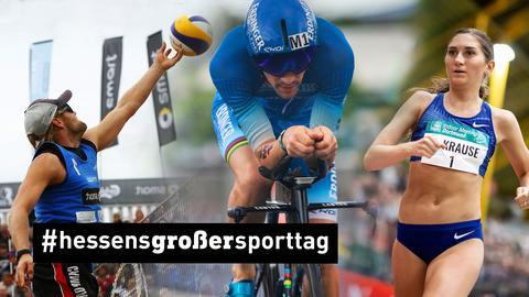 Drei Sportler: Volleyballer, Radfahrer, Läuferin
