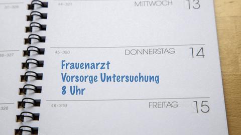 Kalendereintrag: Vorsorgetermin beim Frauenarzt.