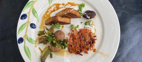 Gegrillter Tofu mit Gemüse-Rösti und Asia-Pilzen