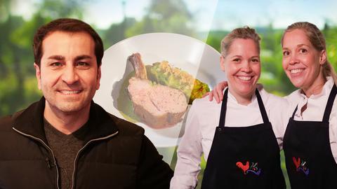 "Ali Güngörmüs, Jennifer und Natahalie Dienstbach kochen Kalbskarree mit warmer Frankfurter ""Grie Soß"""