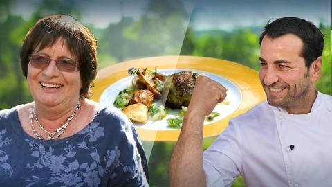 Ali Güngörmüs und Kontrahentin Brigitte Eberle mit dem Gericht der Sendung: Kalbfleischfrikadellen im Spitzkohlmantel