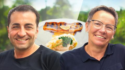 Ali Güngörmüs mit seiner Kontrahentin Renate Friederritzi und dem Essen der Sendung: Zanderfilet mit Sauce von dreierlei Senf