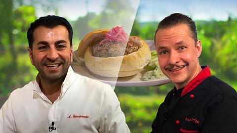 Fotocollage: Timo Israng und Ali mit Weckewerk-Burger von Ali Güngörmüs
