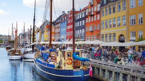 Die Hafenpromenade von Kopenhagen.
