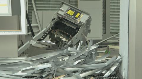 Der zerstörte Rest des Bank-Automaten
