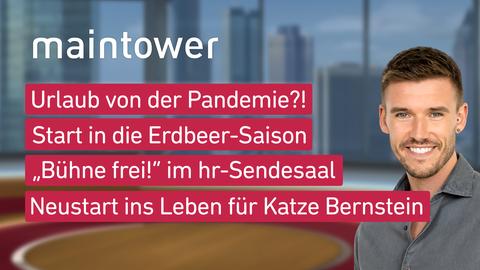 """Die Themen in """"maintower"""" am 11. Mai: Urlaub von der Pandemie?!, Start in die Erdbeer-Saison, """"Bühne frei!"""" im hr-Sendesaal, Neustart ins Leben für Katze Bernstein"""