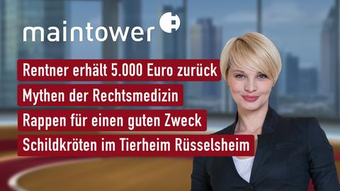 Themen sind u.a.: Rentner erhält 5.000 Euro zurück, Mythen der Rechtsmedizin, Rappen für einen guten Zweck, Schildkröten in Tierheim Rüsselsheim