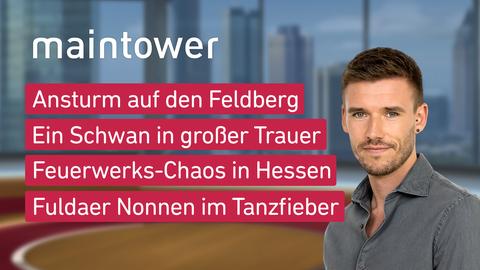 Themen sind u.a.: Ansturm auf den Feldberg, Ein Schwan in großer Trauer, Feuerwerks-Chaos in Hessen, Limburger Nonnen im Tanzfieber.