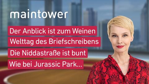 Moderatorin Susann Atwell sowie die Themen: Der Anblick ist zum Weinen, Welttag des Briefschreibens, Die Niddastraße ist bunt, Wie bei Jurassic Park…