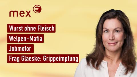 Moderatorin Claudia Schick sowie die Themen: Wurst ohne Fleisch, Welpen-Mafia, Jobmotor, Frag Glaeske: Grippeimpfung